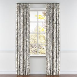 Tan & Gray Faux Bois Pleated Curtains Close Up