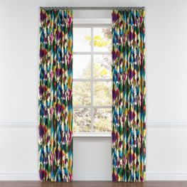 Multicolor Watercolor Pleated Curtains Close Up
