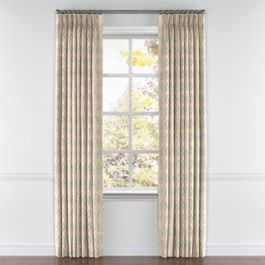 Beige Diamond Block Print Pleated Curtains Close Up