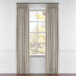 Gray Ogee Block Print Pleated Curtains Close Up