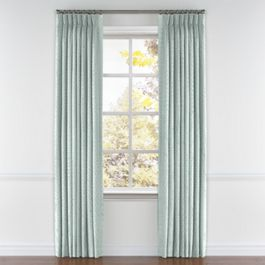 Aqua Geometric Maze Pleated Curtains Close Up