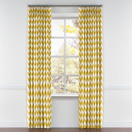Bright Yellow Chevron Pleated Curtains Close Up