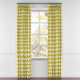Lime Green Chevron Pleated Curtains Close Up