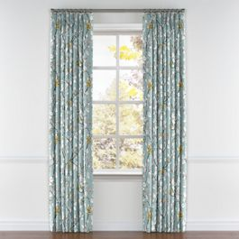 Modern Aqua Floral Pleated Curtains Close Up
