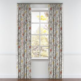 Modern Gray Floral Pleated Curtains Close Up