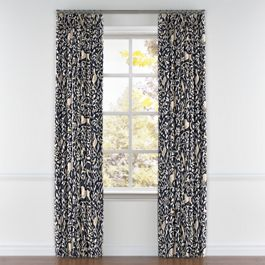 Navy Blue Animal Motif Pleated Curtains Close Up