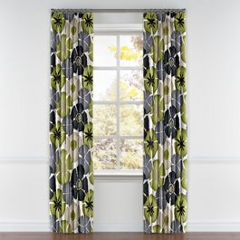 Modern Gray & Green Floral Pleated Curtains Close Up