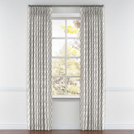 Embroidered Silver Quatrefoil Pleated Curtains Close Up