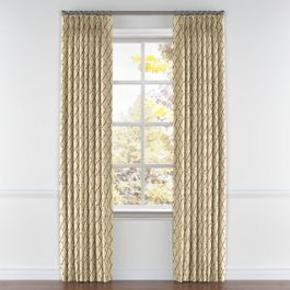 Gold & Tan Embroidered Quatrefoil Pleated Curtains Close Up