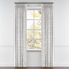 Embroidered Gray Diamond Pleated Curtains Close Up