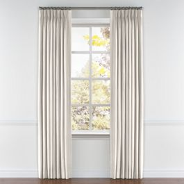 Ivory & Silver Stripe Pleated Curtains Close Up