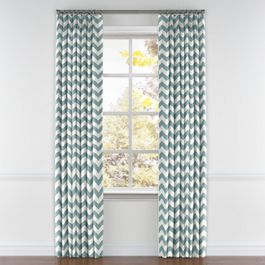 White & Blue Chevron Pleated Curtains Close Up