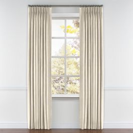 Golden White Metallic Linen Pleated Curtains Close Up