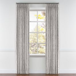 Embroidered Gray Trellis Pleated Curtains Close Up