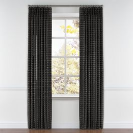 Silver Studded Charcoal Pleated Curtains Close Up