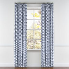 Nautical Blue Scallop Pleated Curtains Close Up