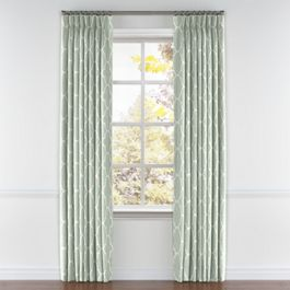 Sea Green Quatrefoil Pleated Curtains Close Up