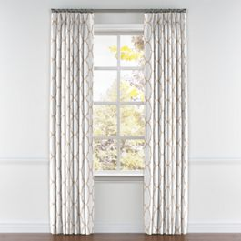 Light Beige Quatrefoil Pleated Curtains Close Up
