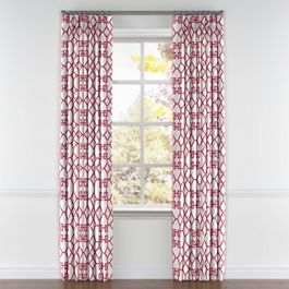 Asian Pink Trellis Pleated Curtains Close Up