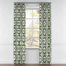 Asian Green Trellis Pleated Curtains Close Up