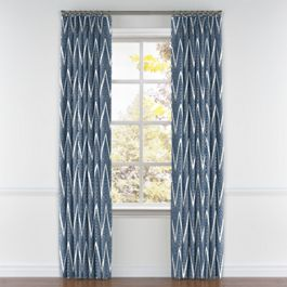 Tribal Navy Blue Chevron Pleated Curtains Close Up