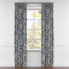 Natural & Blue Botanical  Pleated Curtains Close Up