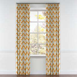 Tan & Orange Chevron  Pleated Curtains Close Up