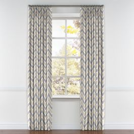 Tan & Gray Chevron Pleated Curtains Close Up