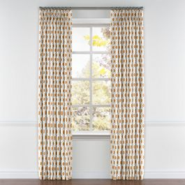 Beige & Orange Hexagon Pleated Curtains Close Up