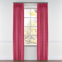 Pink & Orange Diamond Pleated Curtains Close Up