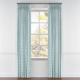 Aqua Blue Block Print Pleated Curtains Close Up