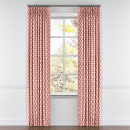 Pink Block Print Pleated Curtains Close Up