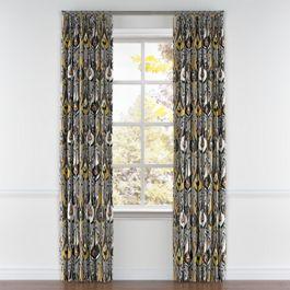 Gray & Orange Ikat Pleated Curtains Close Up