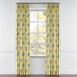 Yellow & Green Leaf Pleated Curtains Close Up