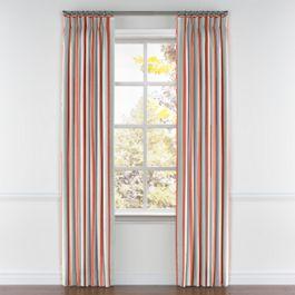 Aqua & Coral Pink Stripe Pleated Curtains Close Up