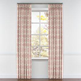 Scrolled Pink Trellis Pleated Curtains Close Up