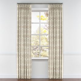 Tan Scroll Trellis Pleated Curtains Close Up