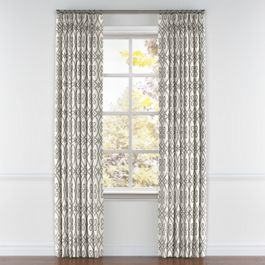 Gray Scroll Trellis Pleated Curtains Close Up