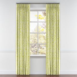 Lemon Yellow Brocade Pleated Curtains Close Up