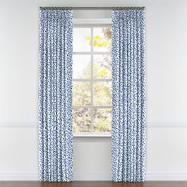 Blue Leopard Print Pleated Curtains Close Up