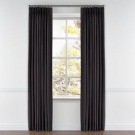 Charcoal Gray Velvet Pleated Curtains Close Up