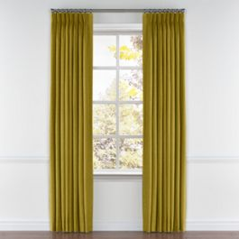 Chartreuse Green Velvet Pleated Curtains Close Up