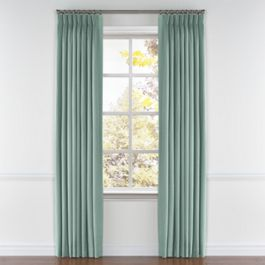 Seafoam Aqua Velvet Pleated Curtains Close Up