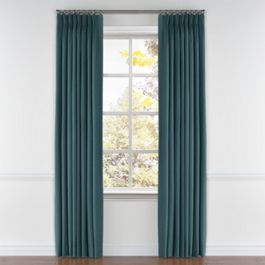 Dark Teal Velvet Pleated Curtains Close Up