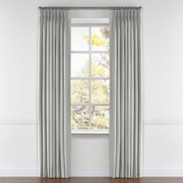 Heathered Light Gray Woven Blend Pleated Curtains Close Up