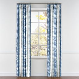 Aqua Blue Shibori Stripe Pleated Curtains Close Up
