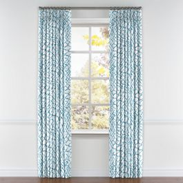Teal & White Net Pleated Curtains Close Up