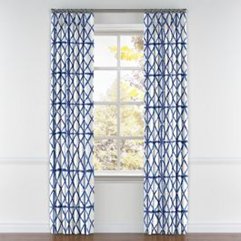 Blue Watercolor Diamond Pleated Curtains Close Up