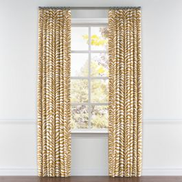 Gold Zebra Print Pleated Curtains Close Up