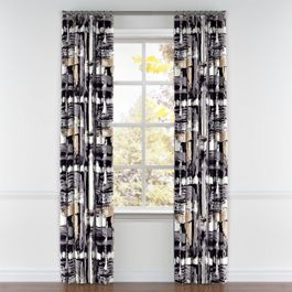 Black & White Brushstrokes Pleated Curtains Close Up